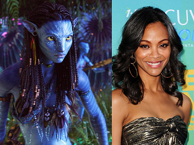 zoe saldana in avatar and on the red carpet