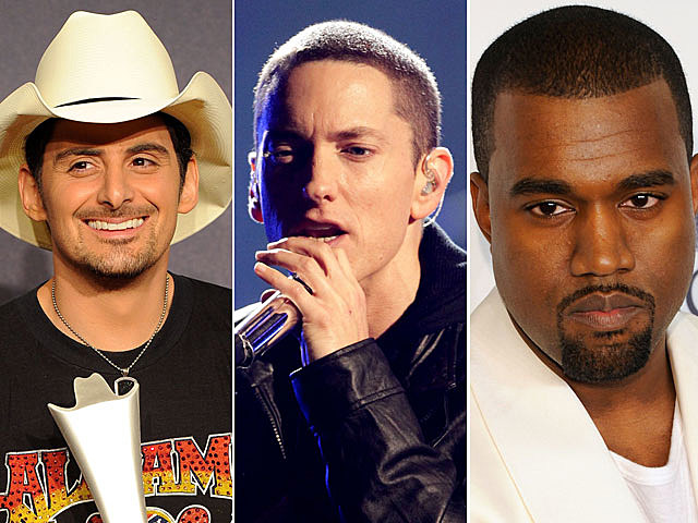 Brad Paisley, Eminem, Kanye West