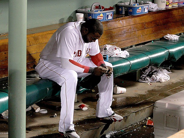 David Ortiz on Red Sox bench