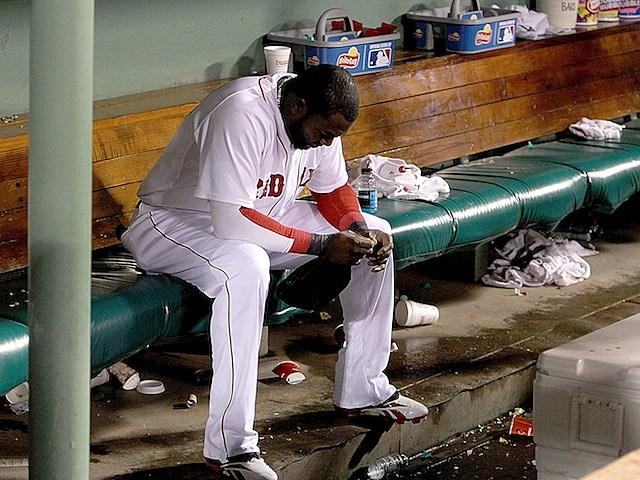 David Ortiz on Red Sox bench