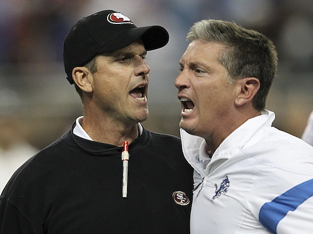 Jim Harbaugh and Jim Schwartz fight