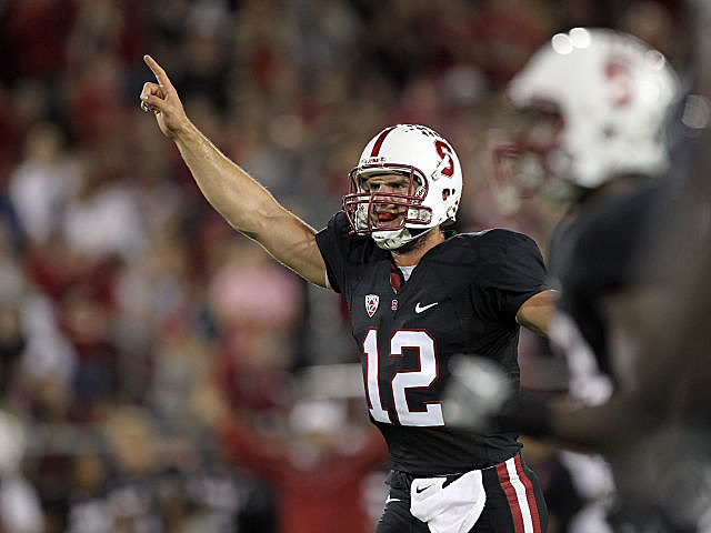 Andrew Luck celebrates a touchdown in Stanford's victory over UCLA.