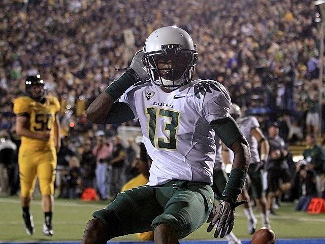 Cliff Harris celebrates a punt return touchdown vs. Cal last season.