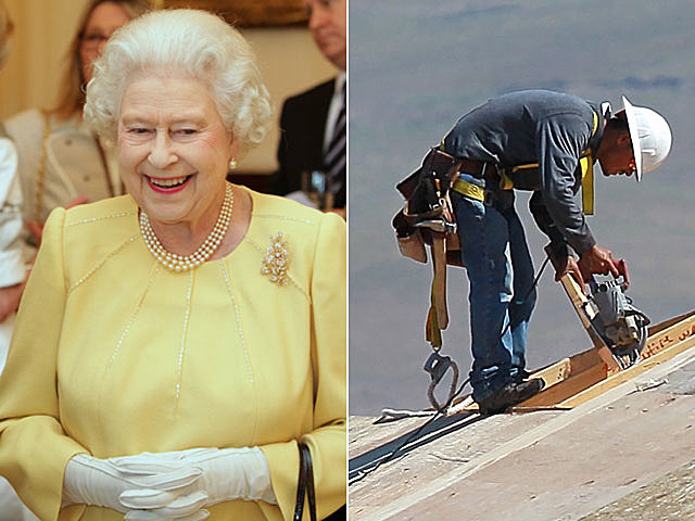 Queen Elizabeth, construction worker