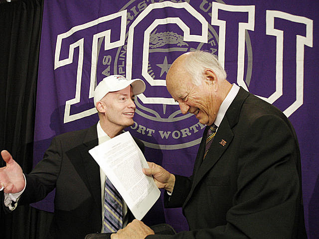 Big XII interim commissioner Chuck Neinas and TCU Chancellor Victor Boschini, Jr. during the Monday press conference announcing the Horned Frogs' decision.