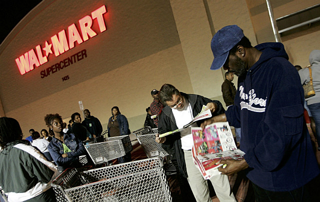 shoppers line up at Wal-Mart at night