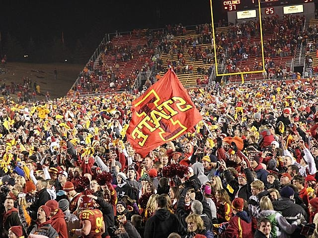 Iowa State fans celebrate the Cyclones upset of