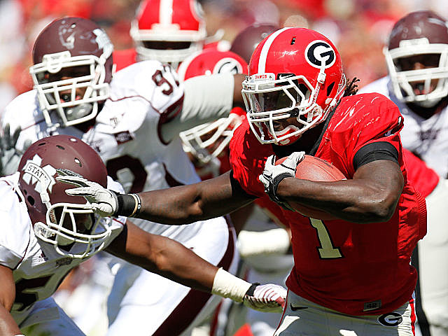 RB Isaiah Crowell, Georgia's leading rusher, has been suspended for the Bulldogs game against New Mexico State.
