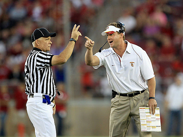Lane Kiffin fined for criticizing Pac-12 officials.