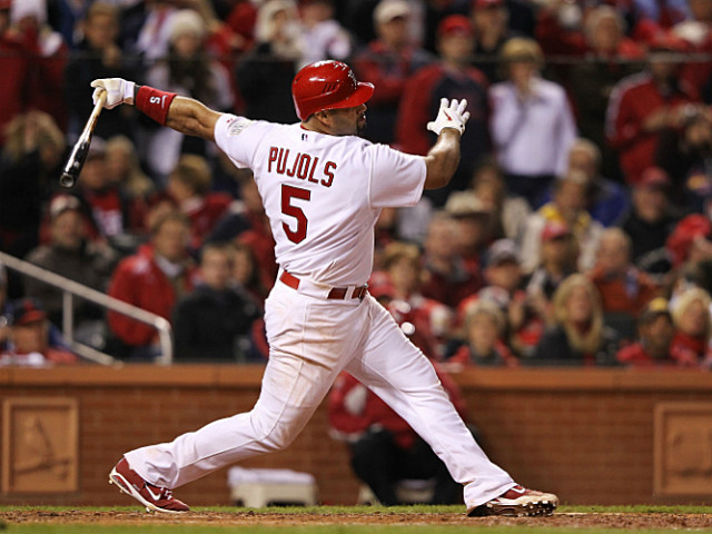 Albert Pujols gets a hit during the 2011 World Series