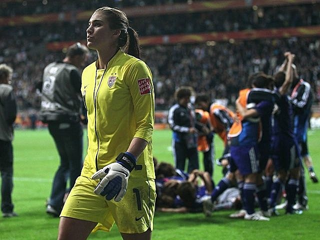 US goalkeeper Hope Solo walks off the field after the US lost to Japan in the World Cup finals.