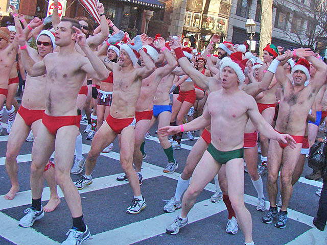 shirtless Santa jumping jacks