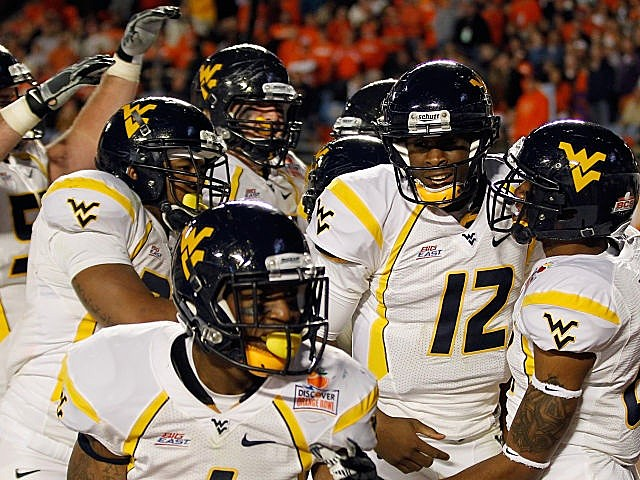 West Virginia celebrates one of its many Orange Bowl scores.