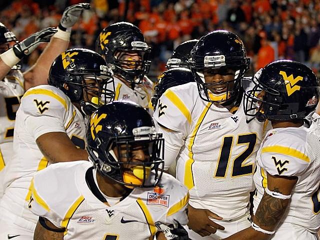 West Virginia celebrates one of its many Orange Bowl scores.