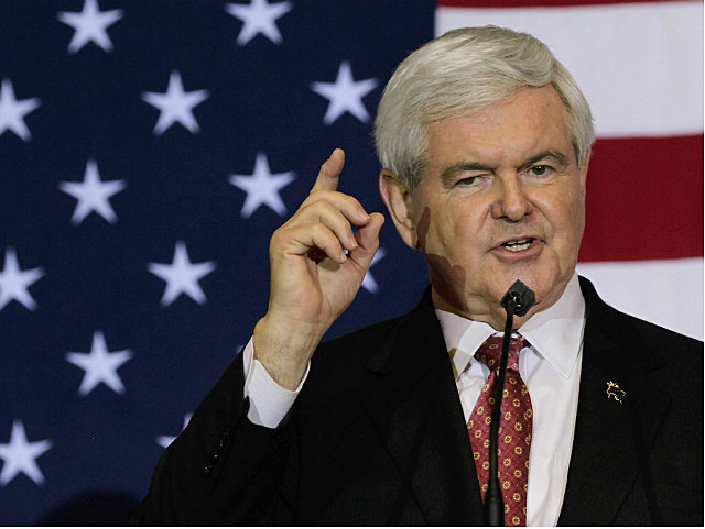Gingrich speaking at a Florida campaign stop