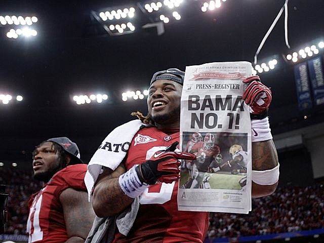 Running back Trent Richardson celebrates Alabama's national championship.