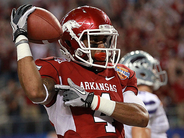 Arkansas' Jarius Wright celebrates a touchdown during the Razorbacks' Cotton Bowl victory.
