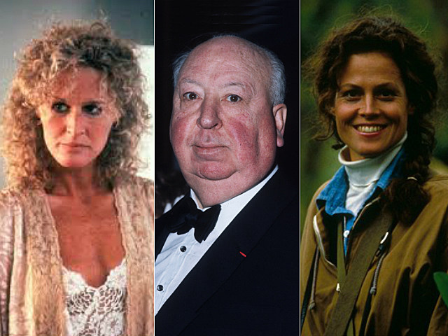 Glenn Close in 'Fatal Attraction,' Alfred Hitchcock, Sigourney Weaver in 'Gorillas in the Mist'