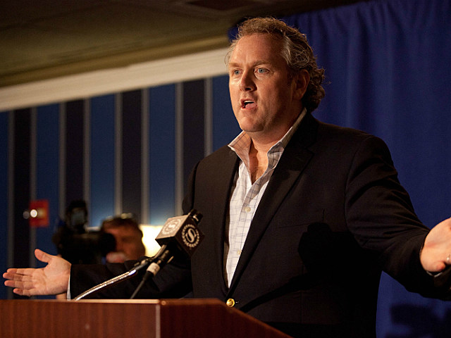 Andrew Breitbart speaking to the media at Anthony Weiner's press conference