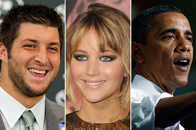 Tim Tebow, Jennifer Lawrence, President Obama