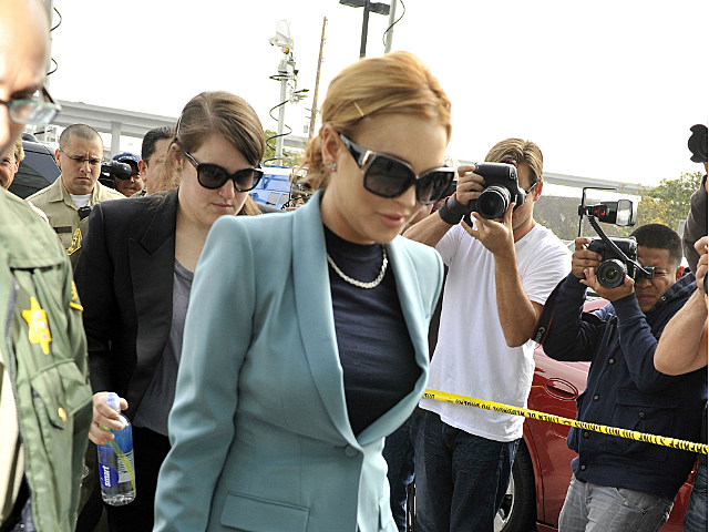 Lindsay Lohan enters her final probation hearing.
