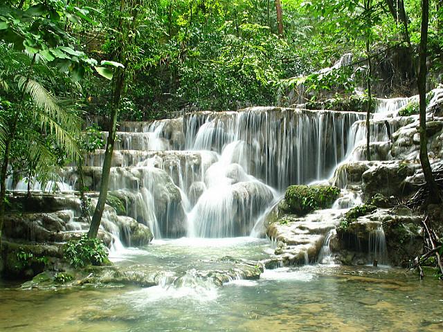 Palenque river falls in Chiapas, Mexico