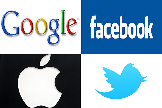 Google, Facebook, Apple, Twitter