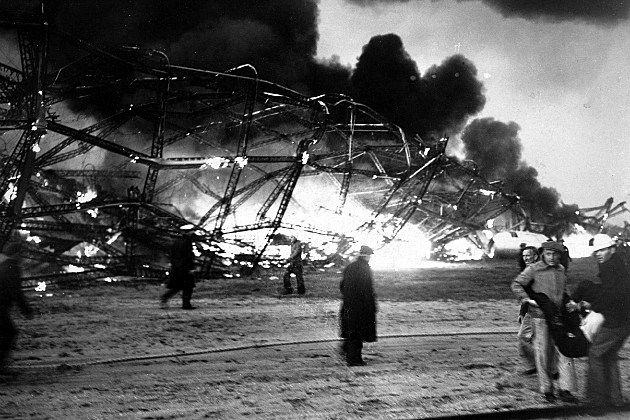the Hindenberg in flames after it exploded over New Jersey