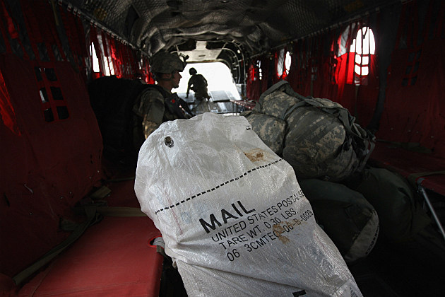 US mail on a cargo plane headed to the troops