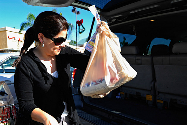 Woman carrying groceries bagged in plastic.