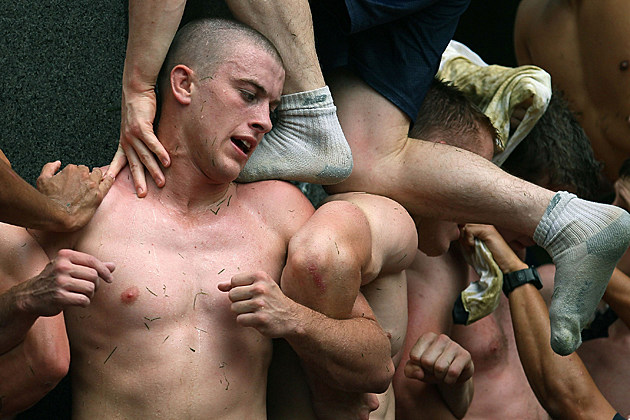 Shirtless Navy Academy Guys Climb Herndon Monument