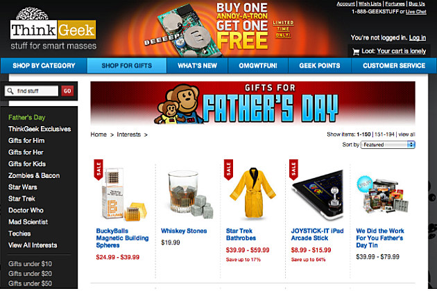 Think Geek has a random assortment of gifts for dad.