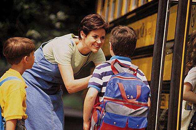 Mom at bus stop