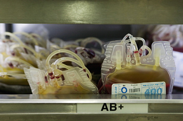 Bags of AB blood