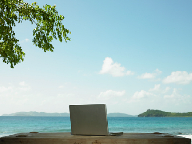 computer at the beach