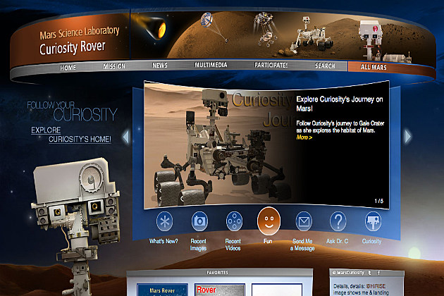 homepage for Mars Curiosity Rover
