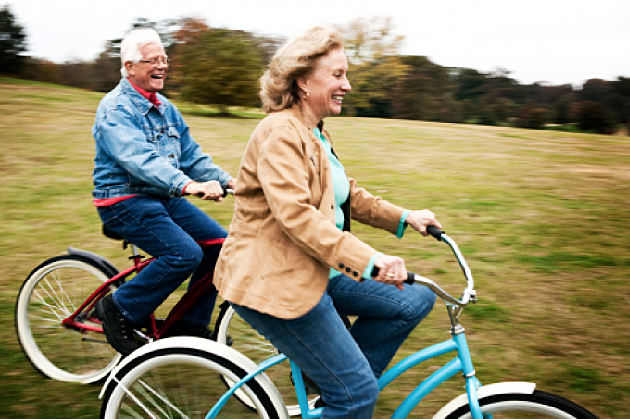 Senior citizens riding bikes
