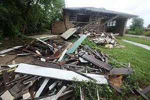 House in the Ninth Ward damaged by Hurricane Katrina.