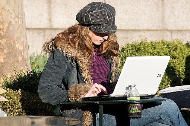 woman checking her email