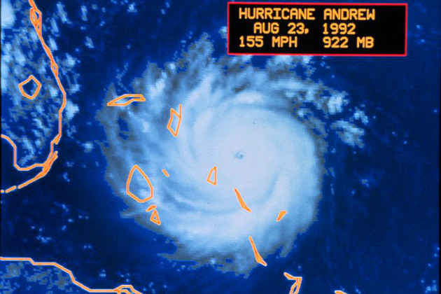 Satellite photo of Hurricane Andrew in 1992