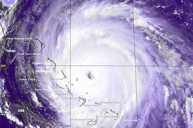 Satellite photo of Hurricane Floyd in 1999
