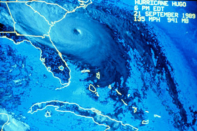 Satellite photo of Hurricane Hugo in 1989