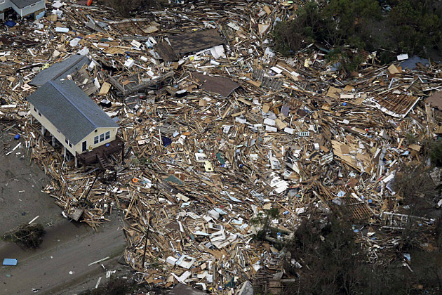 Damage done in Texas by Hurricane Ike.