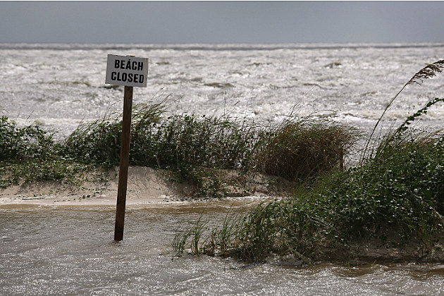 Hurricane Isaac caused this beach to be closed temporarily.