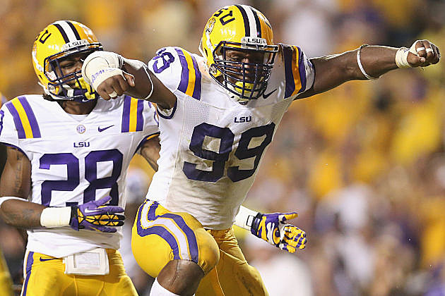 LSU's Sam Montgomery celebrates during the Tigers' win over South Carolina.