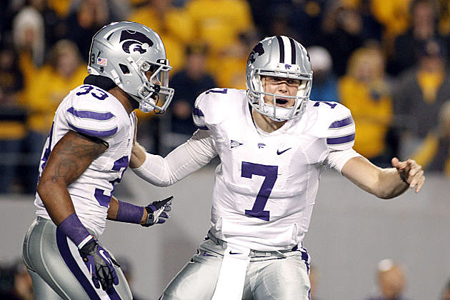 Collin Klein directs the Kansas State offense against West Virginia.
