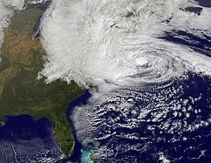 Satellite image of Superstorm Sandy provided by NASA