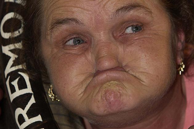 Anne Woods gurning