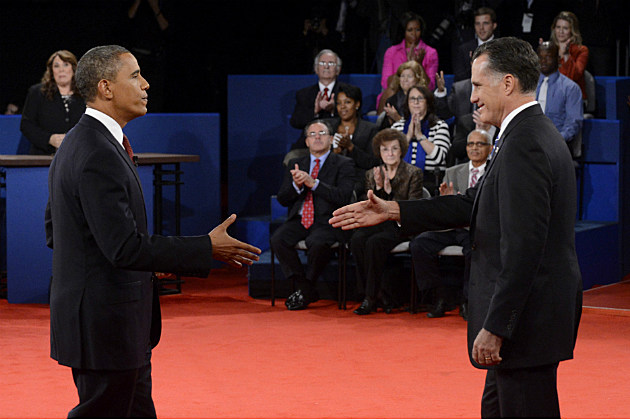 President Obama and Governor Romney greet each other before their second debate in 2012.