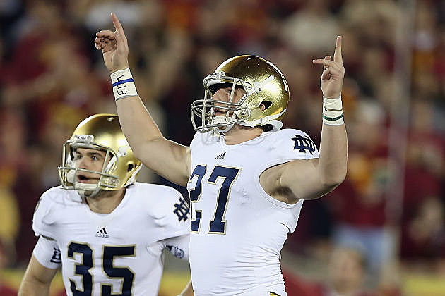 Kyle Brindza celebrates one of his five field goals for Notre Dame.